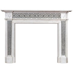 George III Style White Marble and Inlaid Fireplace