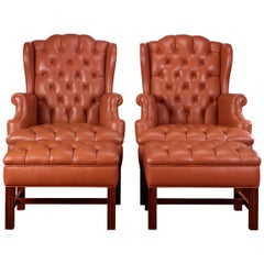 George III-Style Wingback Chairs with Ottomans