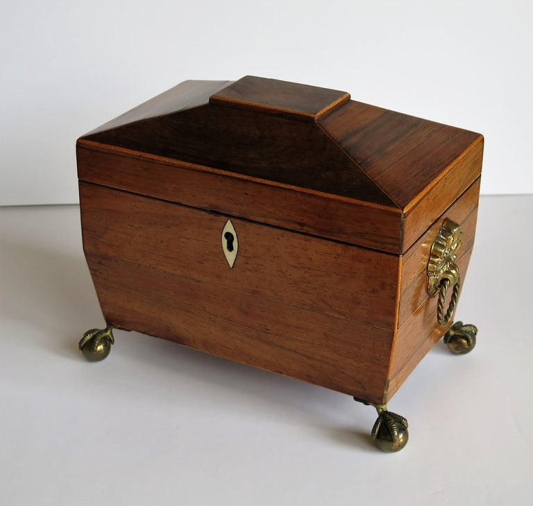 This is a good, high quality, English, Georgian period tea caddy, circa 1815.  The tea caddy has a sarcophagus shape with two lidded internal compartments. It has been very carefully hand made of various contrasting woods. The main body is