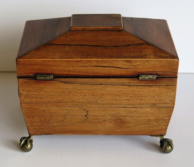 George III Tea Caddy Rosewood with Boxwood edges on Ball and Claw Feet For Sale 2
