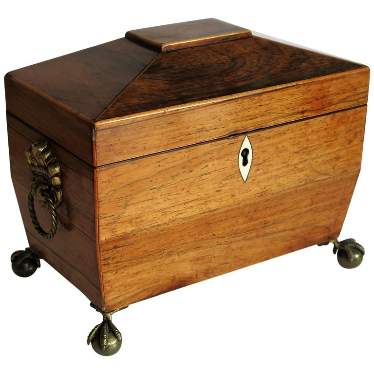 George III Tea Caddy Rosewood with Boxwood edges on Ball and Claw Feet For Sale