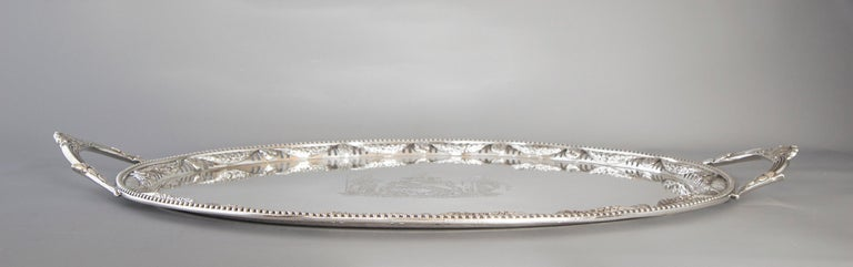 Early 19th Century George III Two Handled Silver Tray, London, 1816 by Joseph Angell For Sale