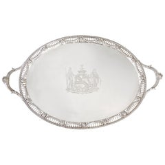 George III Two Handled Silver Tray, London, 1816 by Joseph Angell