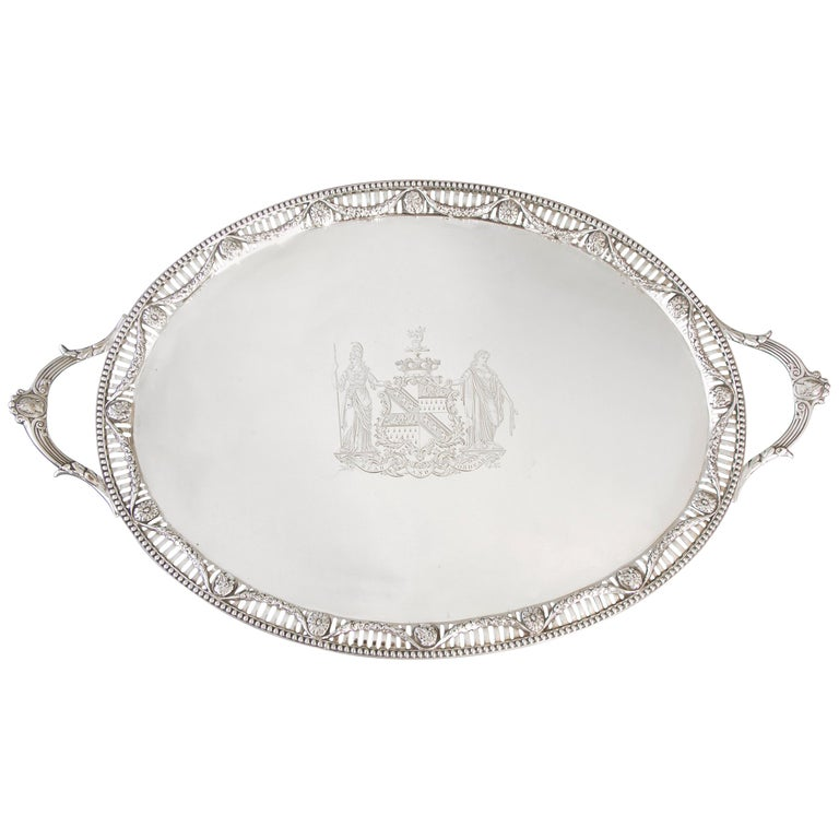 George III Two Handled Silver Tray, London, 1816 by Joseph Angell For Sale