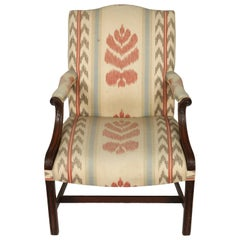 George III Upholstered Mahogany Library Chair