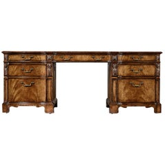 George III Walnut Pedestal Desk