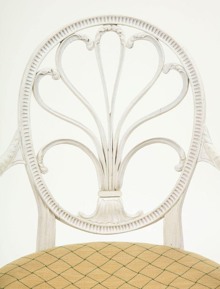 Neoclassical George III White-Painted Armchair Attributed to Gillows For Sale