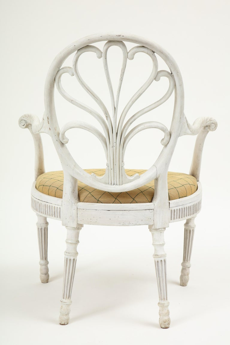 English George III White-Painted Armchair Attributed to Gillows For Sale