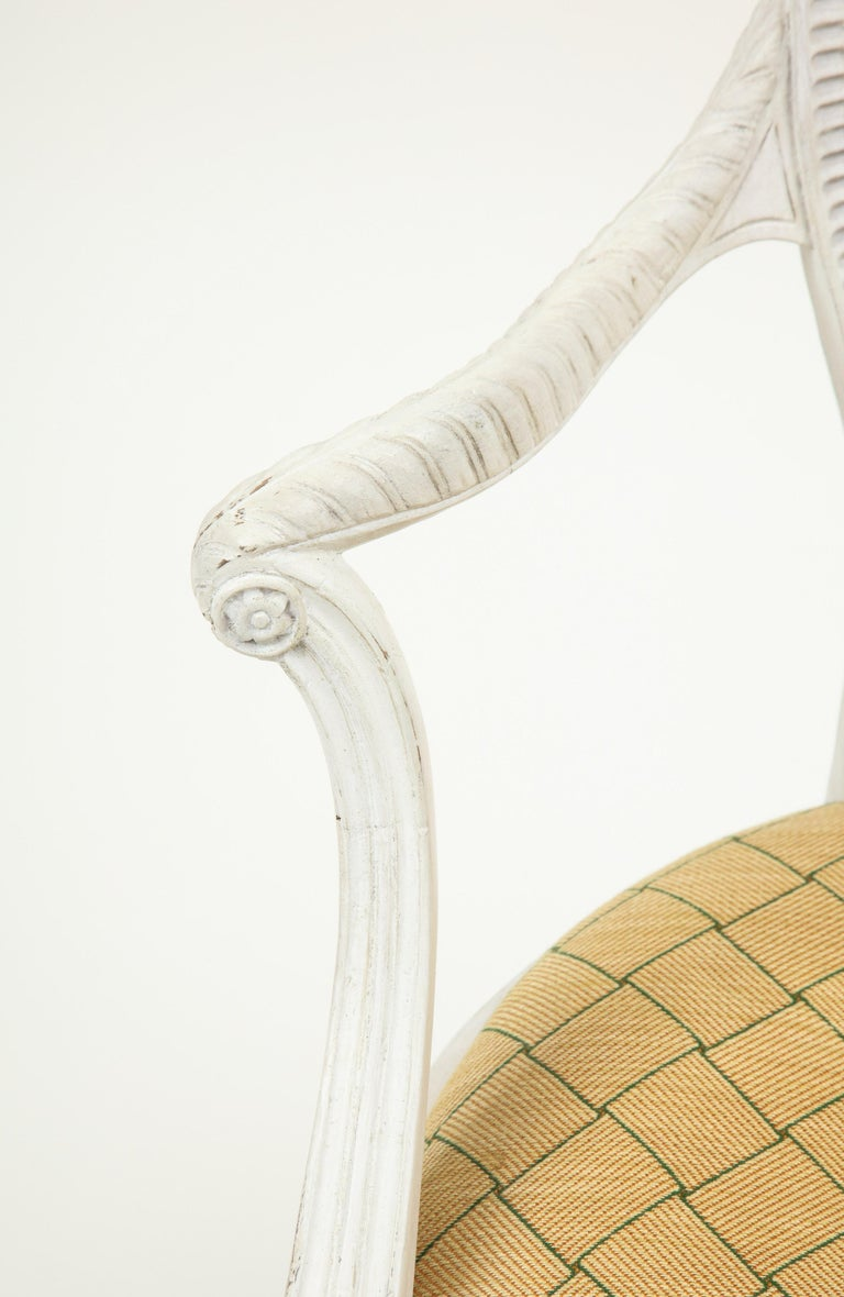Late 18th Century George III White-Painted Armchair Attributed to Gillows For Sale
