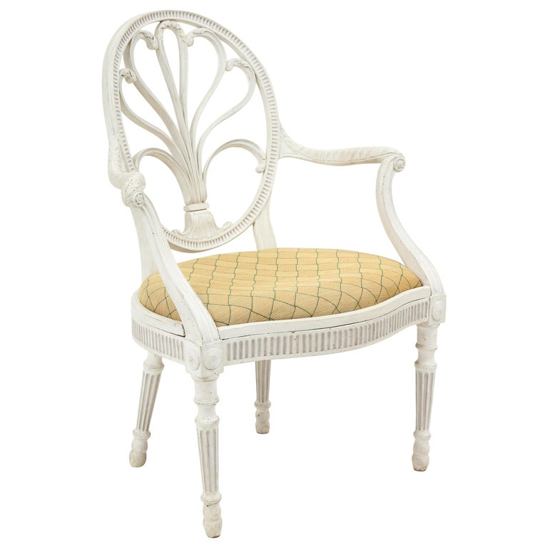 George III White-Painted Armchair Attributed to Gillows For Sale