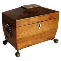 George III Tea Caddy Mahogany with Boxwood Edges on Ball and Claw Feet
