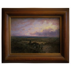 George Inness II Oil on Panel Coastal Plain at Sunrise, Signed