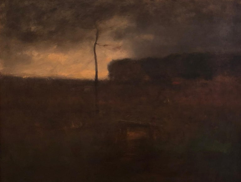 """George Inness Landscape Painting - """"A Cloudy Day,"""" View of Montclair, New Jersey, Tonalist, Barbizon Scene"""