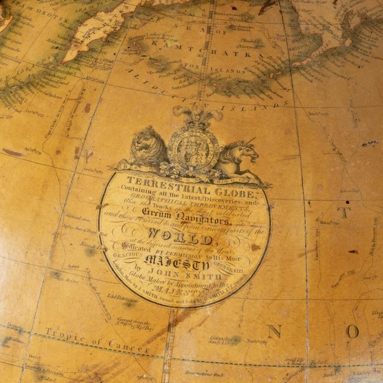 Early 19th Century George IV George Smith Terrestrial Globe For Sale