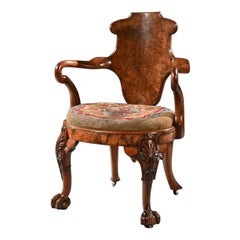 George IV Burr Walnut Armchair Attr. to Gillows