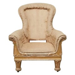 George IV Carved Giltwood Library Chair of Generous Proportions