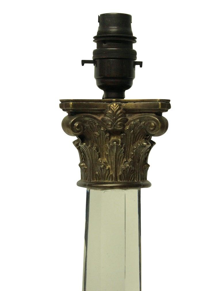 English George IV Cut-Glass Column Lamp