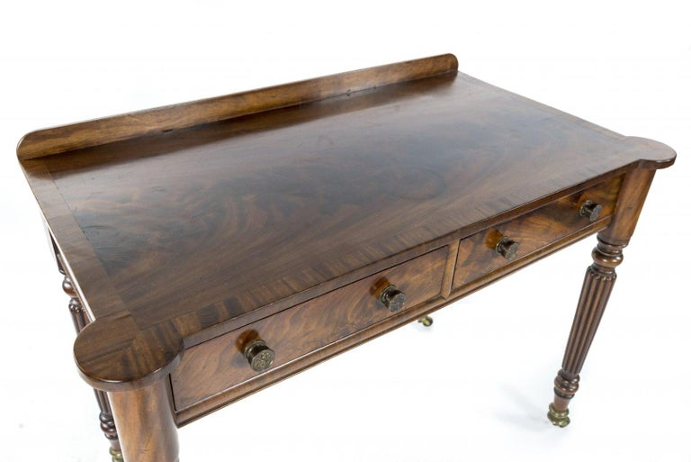 British George IV Figured Mahogany Side or Writing Table Attributed to Gillows For Sale