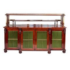 George IV Gonçalo Alves Carved and Gilt Brass Chiffonier Side Cabinet