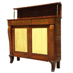 George IV Period Antique Rosewood Chiffonier with Brass Inlay
