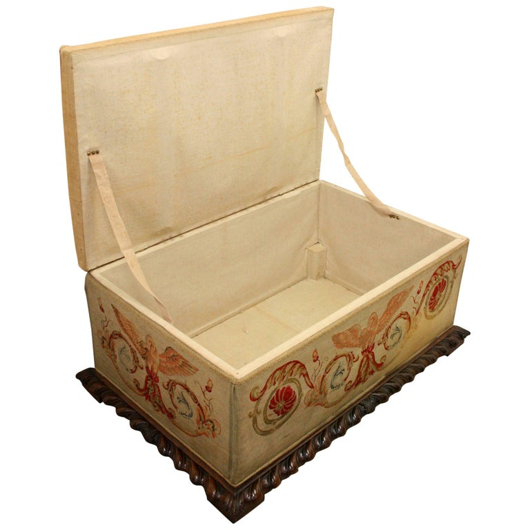 Late George IV rosewood ottoman, circa 1830. The rectangular top and sides with Aubusson-style tapestry panels, above a gadrooned edge and square section feet with counter-sunk wooden castors.