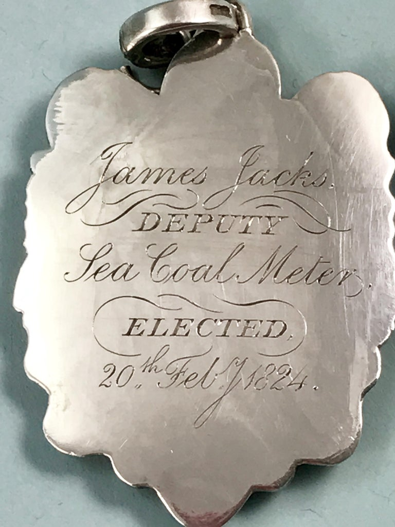 English George IV Silver Sea-Coal Meter Badge, England, 1824 For Sale