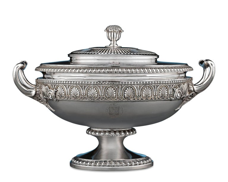 Superbly designed and masterfully crafted, this George IV silver tureen is a remarkable example of Georgian design by one of England's most celebrated silversmiths, Paul Storr. Storr is best known for his incomparable craftsmanship and incredible