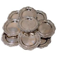 George IV Sterling Silver Set of Twelve Dinner Plates London 1833 John Houle