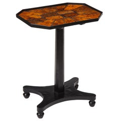 George IV Tortoiseshell and Ebonized Mahogany Tilt-Top Table