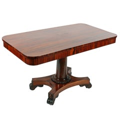 Rare 19th Century George IV Zebra Wood Two Drawer Library Table