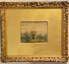 Pair of English Antique 19th century landscapes with churches, sheep and cows