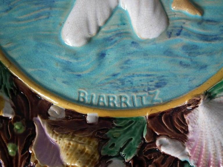 Victorian George Jones Majolica Biarritz Plate For Sale