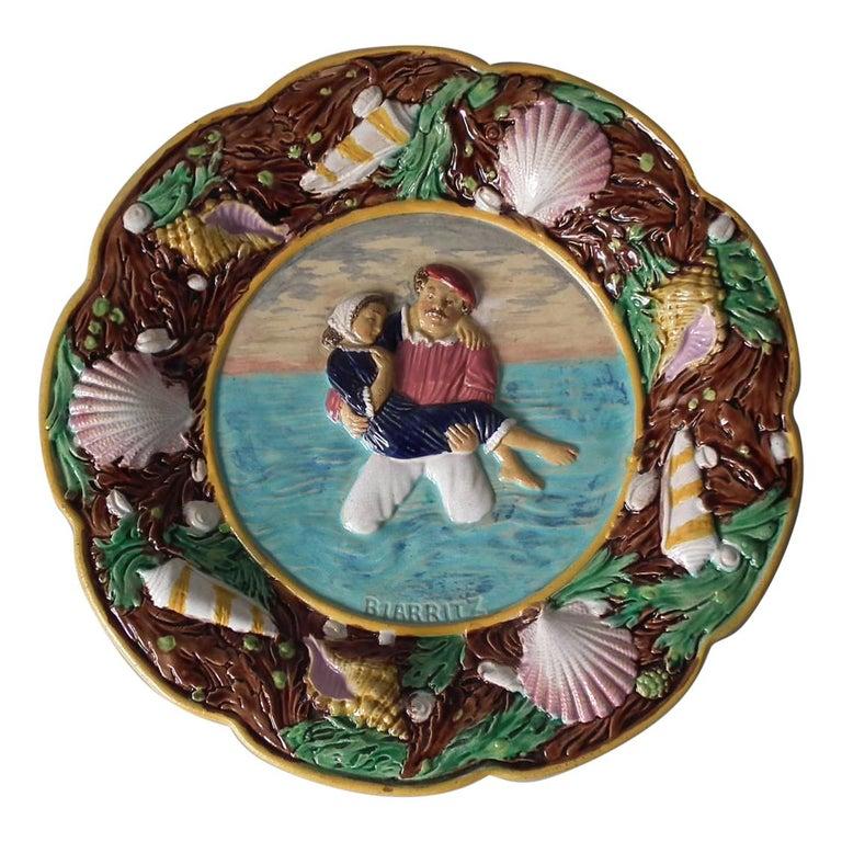 George Jones Majolica Biarritz Plate For Sale
