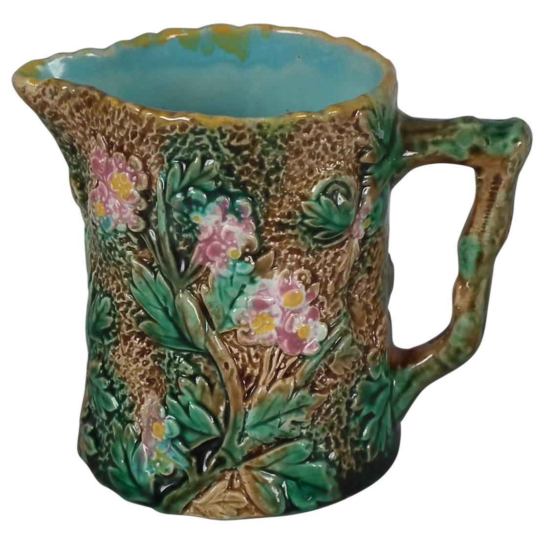 George Jones Majolica Blossom Pitcher/Creamer