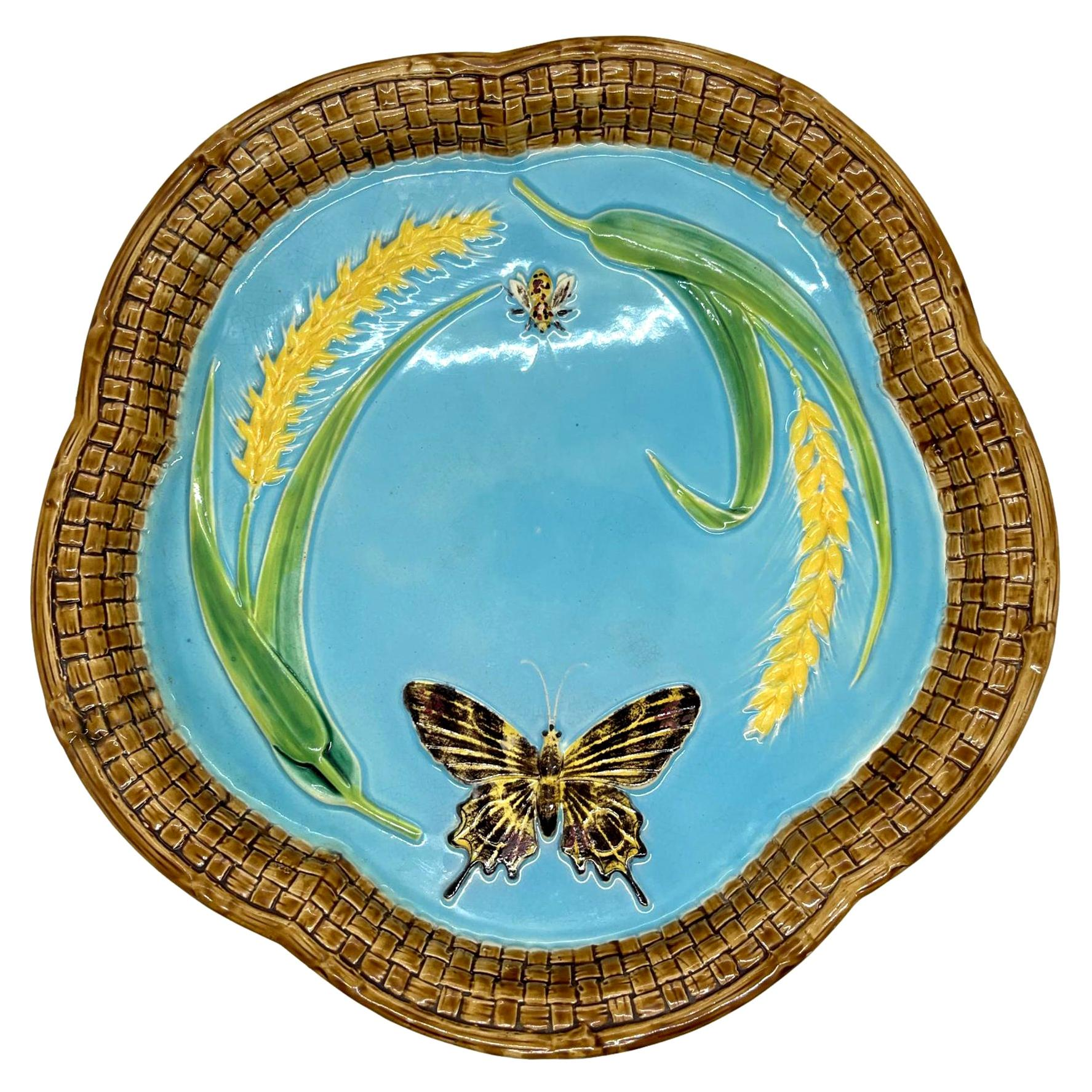 George Jones Majolica Bread Platter, with Butterfly, Bee, and Wheat, Dated 1877