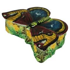George Jones Majolica Butterfly Match Box