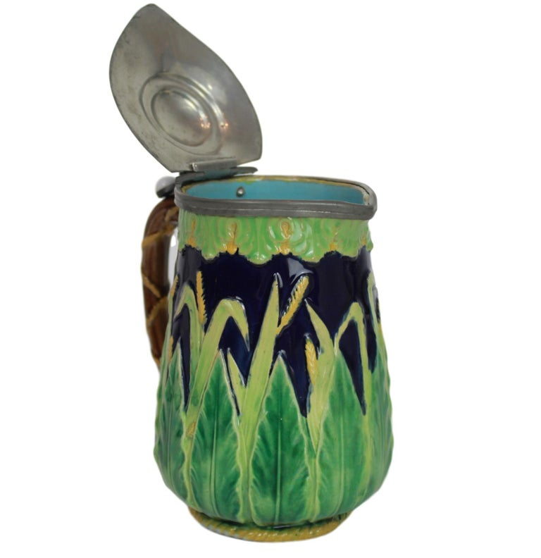 George Jones Majolica Cobalt Blue Wheat Pitcher with Pewter Lid, English For Sale 5