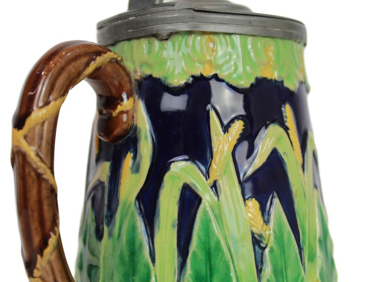 George Jones Majolica Cobalt Blue Wheat Pitcher with Pewter Lid, English For Sale 6