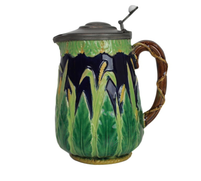 Victorian George Jones Majolica Cobalt Blue Wheat Pitcher with Pewter Lid, English For Sale