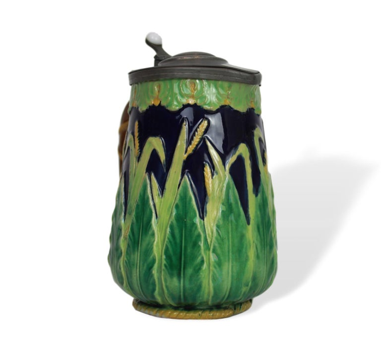 Molded George Jones Majolica Cobalt Blue Wheat Pitcher with Pewter Lid, English For Sale