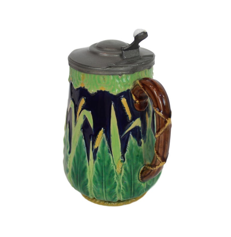 George Jones Majolica Cobalt Blue Wheat Pitcher with Pewter Lid, English In Good Condition For Sale In Banner Elk, NC
