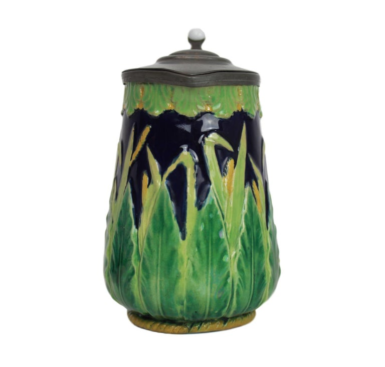 Late 19th Century George Jones Majolica Cobalt Blue Wheat Pitcher with Pewter Lid, English For Sale