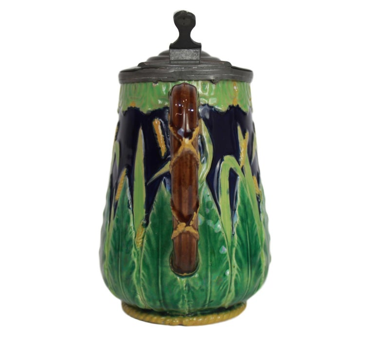George Jones Majolica Cobalt Blue Wheat Pitcher with Pewter Lid, English For Sale 1