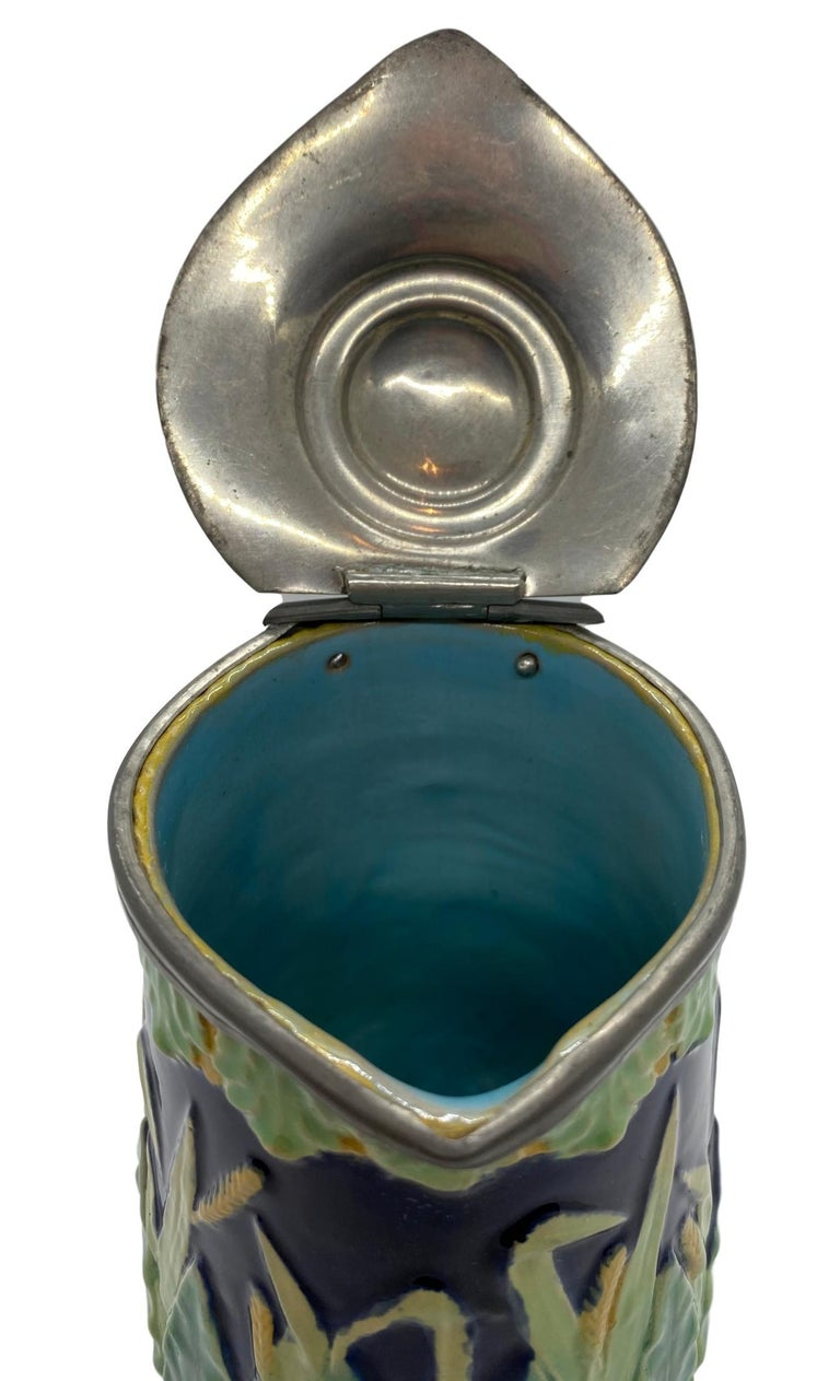 George Jones Majolica Cobalt Blue Wheat Pitcher with Pewter Lid, English For Sale 3