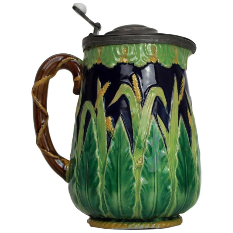 George Jones Majolica Cobalt Blue Wheat Pitcher with Pewter Lid, English For Sale