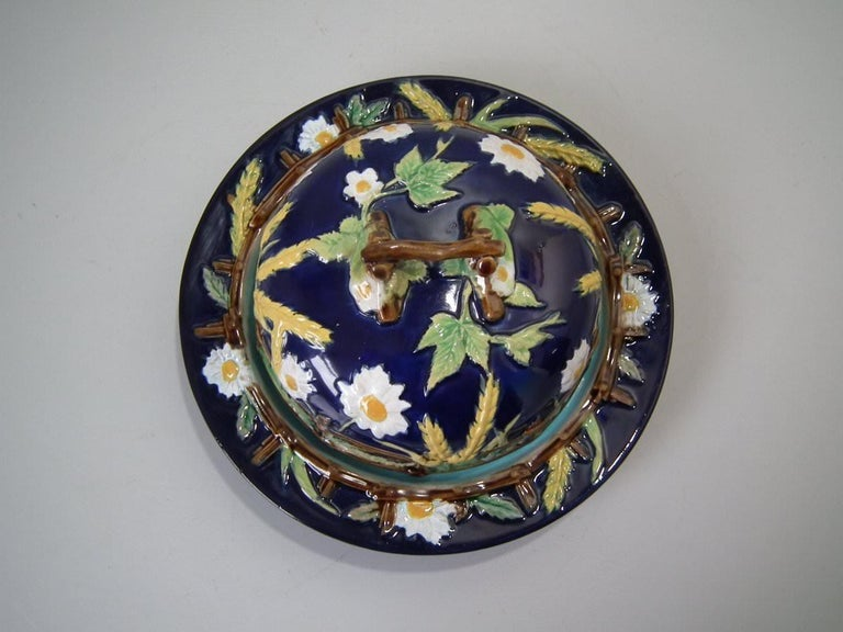 Victorian George Jones Majolica Cobalt Muffin Dish and Cover