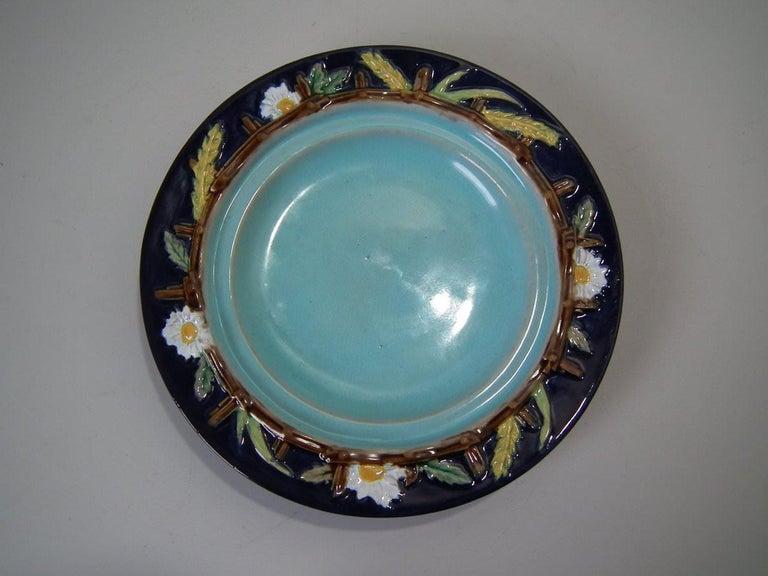 English George Jones Majolica Cobalt Muffin Dish and Cover