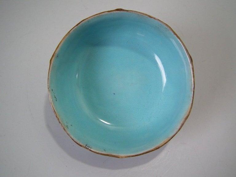 George Jones Majolica Cobalt Muffin Dish and Cover 1