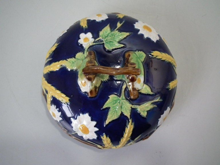 George Jones Majolica Cobalt Muffin Dish and Cover 3