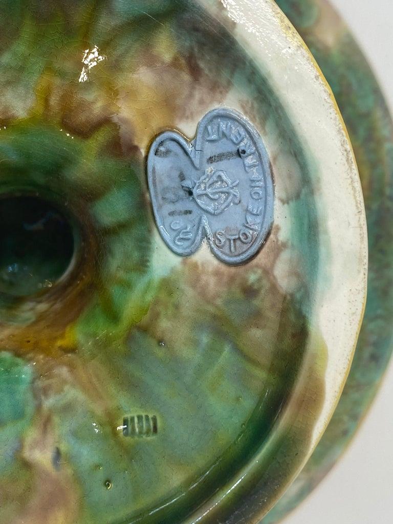 George Jones Majolica Comport, Horse Chestnut Leaf on Napkin, English For Sale 4